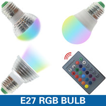 E27 E14 LED 16 Color Changing RGB Magic Light Bulb Lamp 85-265V 110V 120V 220V RGB Led Light Spotlight + IR Remote Control(China)