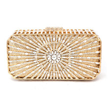 Gold Luxury Discount Designer Purses for Brides Sunray Patterns Metallic Silver Clutch Bag Small Crystal Evening Bags 88255