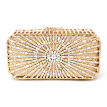 Gold Luxury Discount Designer Purses for Brides Sunray Patterns Metallic Silver Clutch Bag Small Crystal Evening Bags 88255(China)