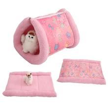 2 in 1 Cats House Removable Sleeping Mats Warm Home Houses Cats Litter Soft Small Dog Kennel Cat Tunnel Mat Cushion Pet Supplies(China)