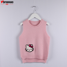 New Spring And Autumn Children Girls Sweaters Casual O-neck Wool Knitted Clothes Kitty Cat Pattern Pullover Vest Kids Clothing