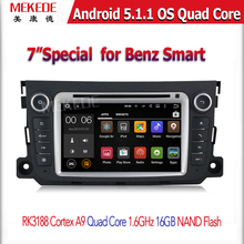 Quad Core 1024*600 Android 5.1.1 Car DVD Player GPS for Benz Smart Fortwo 2014 2013 2012 With BT Wifi Radio Mirror-link