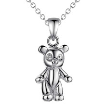 2016 Hot Silver Bear Pendant Necklace Fashion Jewelry Pretty cute birthday gift for girls good quality Factory Outlet