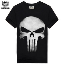 Rocksir punisher t shirts for men t shirt Cotton fashion brand t shirt men Casual Short Sleeves the punisher T-shirt Men(China)