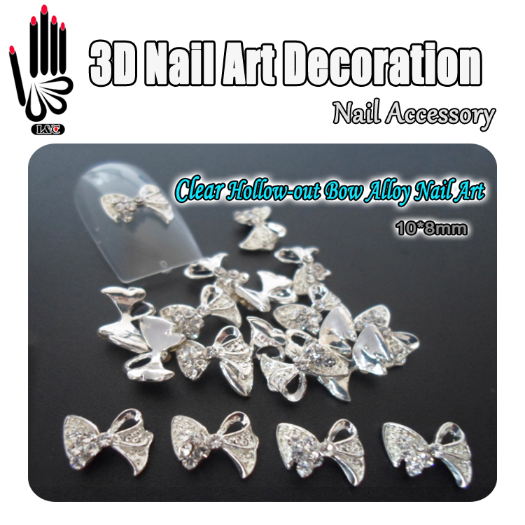 Nail Art 10pcs/Lot 3D Clear Color Hollow-out Nail Bow Metal Nail Decoration Clear Rhinestone Alloy Nail Art Decoration(China)