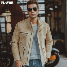 S-6XL Men's pigskin beige real leather jacket Motorcycle Genuine Leather jackets winter coat men(China)