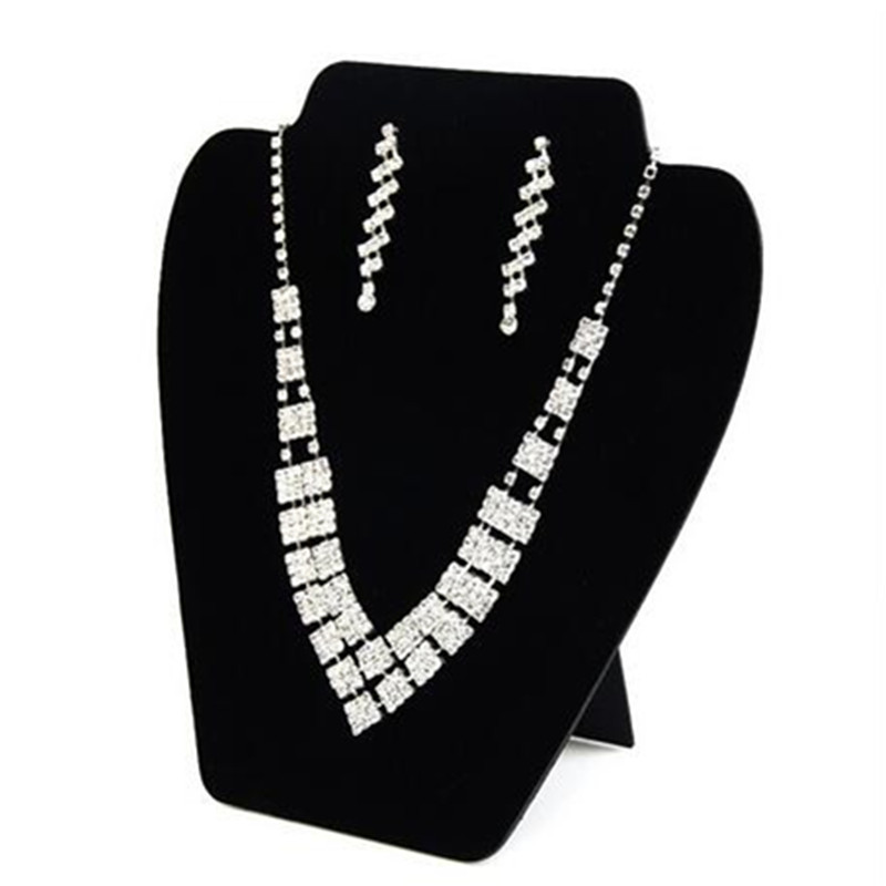 Tonvic hot sell Black velvet necklace display shelf pendant exhibition stand fashion jewelry holder rack necklaces hanger frame(China)