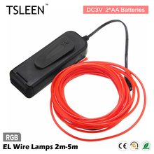 TSLEEN 2/3/5M glowing neon led lights el wire string strip rope tube car dance party decorative line cable light(China)