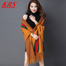 Women's Sweater Cardigan 2017 Winter New Elegant Ladies Knitted Sweater Cardigans Lady Red/White Stripe Women Shawl Coats