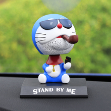 Cute Car Styling Anime For Doraemon Head Shaking Toy Model Car Decoration PVC Doll Auto Ornaments Accessories(China)