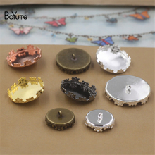 BoYuTe 20Pcs Round 12MM 15MM 20MM 25MM Cameo Cabochon Base Blank Button Tray Bezel Metal Copper Diy Jewerly Accessories Parts(China)