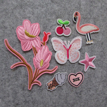hot sale Brand new pink Patch Iron On Kid Cheap Embroidered Cute Cartoon Patches For Clothes Sticker Jacket DIY Badges Applique(China)