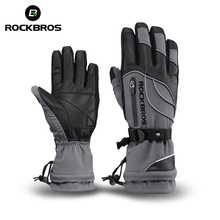 ROCKBROS Waterproof Ski Gloves -30 Degree Windproof Winter Snowmobile Snowboard Snow Men Women Sports Thermal Skiing Gloves(China)