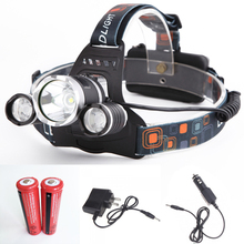 Sanyi 3*LED Headlight 6000 Lumens XM-L T6 Head Lamp High Power LED Headlamp +2*18650 5000mah battery+ Charger+Car EU/US charger