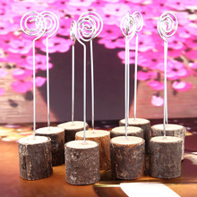 Wooden Base 10 pcs Memo Photo Holder Card Paper Note Clip Wedding Place Name Card Holders Party Table Decorative Accessories
