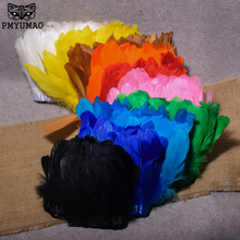 PMYUMAO 2meters Goose Feathers Fringe Trimming Dyed Goose Feather Ribbons For Dress Skirt Party Clothing Decoration DIY Crafts(China)