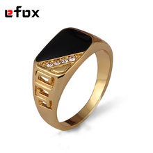 High Quality Classic Gold Color Rhinestone Zinc Alloy Men Ring Black Enamel Male Finger Rings Size 7-11