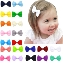 20pcs/lot 2.75'' Boutique Ribbon Bow Hair Clip Barrettes Baby Hair Bows Hairpins Girls Clips Diy Children Hair Accessories CH92