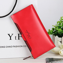 Purse Women Leather Wallet Business Fashion Card Holder OL Classical Women Clutch Red Solid Color Long Hasp Purse Free Shipping