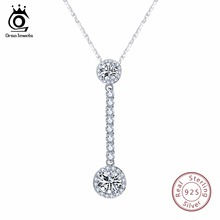 ORSA JEWELS Ethnic 925 Sterling Silver Necklace With Long Pendant AAA Shiny Cubic Zircon Female Wedding Party Girls Gift SN80