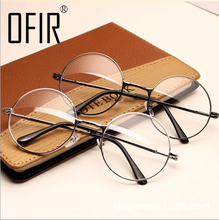 Women Vintage Glasses Frame Plain Mirror Big Round Metal Optical Frame For Girl Eyeglass Clear Lens oculos feminino de grau AL-2(China)