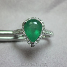 Solid 14K Yellow Gold 0.20ct . Natural 1.08ct Emerald Ring Gemstone