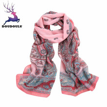 DOUDOULU 2017 Lady Soft printed Long Wrap scarf Ladies Shawl Scarf Scarves unique Chiffon Stole Scarve Cachecol Bufanda Mujer