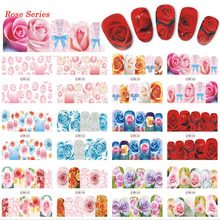 12 Designs in One Full Cover Blossom Pink/Red/Blue Rose Decals Nail Art Water Transfer Sticker Valentine Decals Tips TRBN553-564(China)