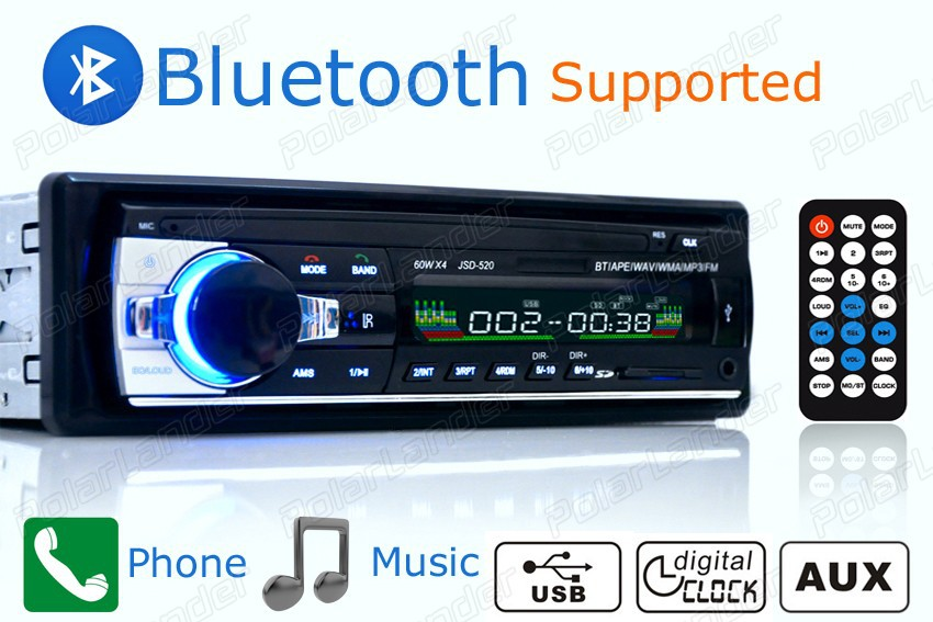 new Car Radio bluetooth MP3 player FM USB SD aux in1 Din remote control 12V Car Audio stereo with ISO connector(China (Mainland))