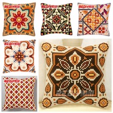 REDIY LADIY Cross Stitch Cushion Cover Classic Pattern Chunky Cross-Stitch Kits Handmade Pillow Yarn for Embroidery Pillow Case(China)