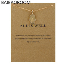Fashion Jewelry Necklaces & Pendants Gold-color All Is Well Hamsa Choker Necklace Women(China)