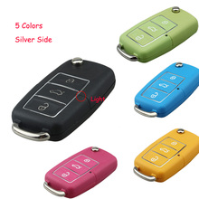 5 Colors Silver Side Key Shell Fob For Volkswagen Vw Jetta Golf Passat Beetle Polo Bora 3 Buttons Key Case No Blade with logo