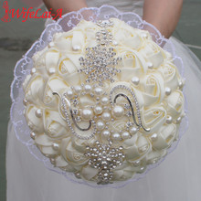 Buy WifeLai-A 1PC Lace Ivory Rose Diamond Pendant Wedding Bouquet Bridal Mariage Pearl Flower Wedding Bouquet buque de noiva W2215 for $18.62 in AliExpress store