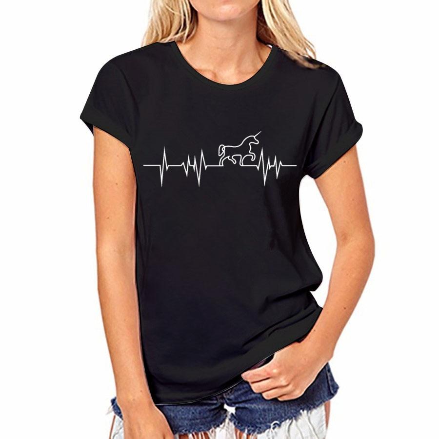 17 couleur D'été T-shirt Sexy Femmes Casual Tops Coton T-Shirt Harajuku Shirts Licorne O-cou À Manches Courtes Tops T-shirt Femelle 34