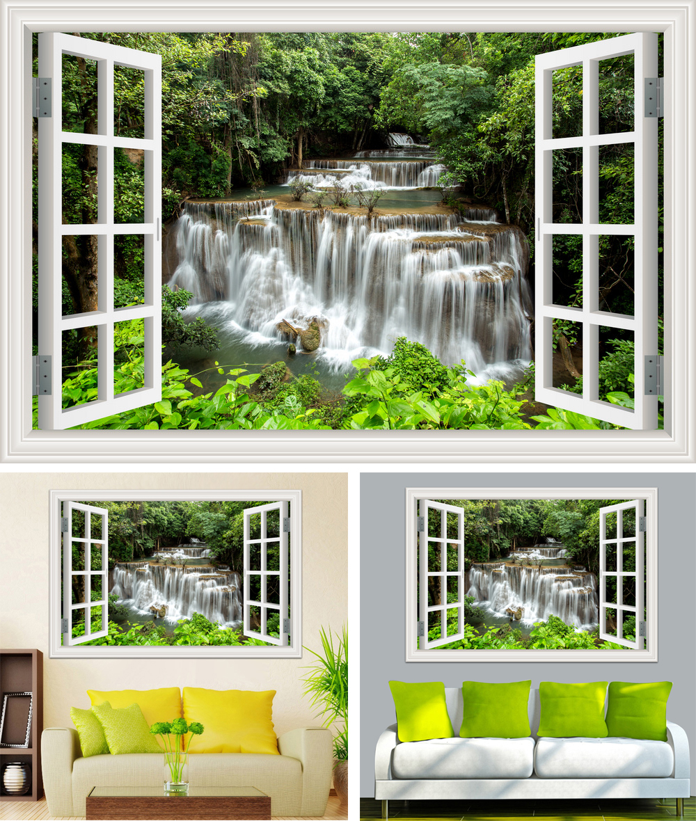 HTB1Byvbb7fb uJkHFrdq6x2IVXaz - Waterfall 3D Window View Wallpaper Nature Landscape Wall Decals for Living Room