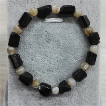 natutal raw rough black tourmaline with 6mm round hematite brown tiger eye hamsa metal charms customized unisex beaded bracelets(China)