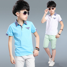 Baby Boys Kids Polo Shirt Tops 2017 Fashion Boy Summer Clothing Set T Shirt+Pants Children Boys Clothes Sets