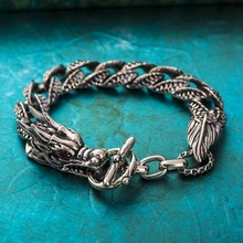 Powerful JEWELRY Wrist Chunky Men's Bracelets Silver dragon head Hand Chain Curb Link Jewelry For Mens Gift Pulseiras masculinas