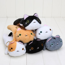 180pcs/lot big face cat plush toys soft stuffed Pencil Box Kutusita Nyanko plush pencil bags 6styles
