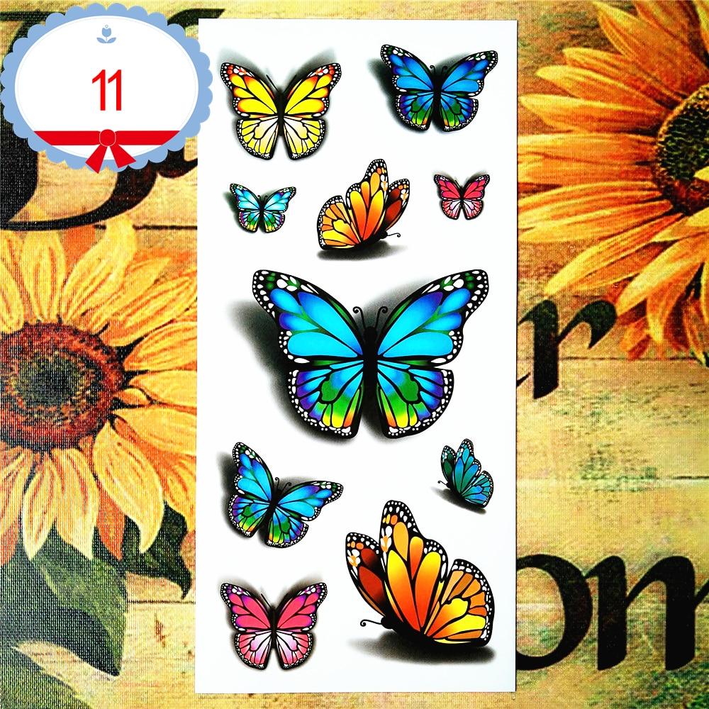 Nu-TATY Sexy Butterfly 3d Temporary Flash Tattoo Body Art Back Sticker 1 sheet 19*9cm For Selfie EN71 High Quality Tatoo