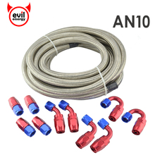 evil energy AN10 Double Stainless Steel Braided 5Meter Silver Hose+AN10 Anoized Aluminum Oil Fuel Fittings Hose End Oil Cooler