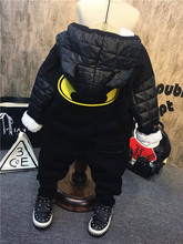 winter children clothing set bat hoddies+boys Harlan pants 2pcs baby boys clothes thick kids sets for boy black sports costume