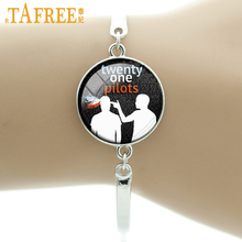 TAFREE Twenty One Pilots Music Band charm Bracelet as a special birthday offer fans for like Hip-Pop round Glass jewelry H269