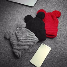 Winter Thick Knitted Wool Hat With Two Cat Ears Women's Beanie Warm&Soft Cap Red, Black, Gray(China)