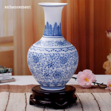 Blue And White Vase Matte Interlock Branch Lotus Decoration Jingdezhen Ceramic Graceful Decorate Ornaments Flower Vases
