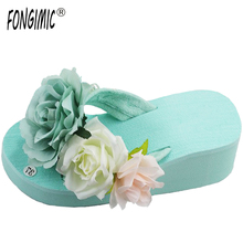 Sale top summer hot Small fresh original hand-made flowers full diamond stone female fashion slippers beach muffin flip flops