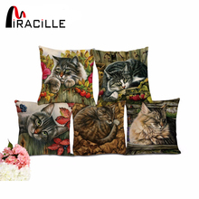 Miracille Throw Pillows Without Inner Sleeping Cats Couch Modern Linen Cushion For Sofa Chair Car Seat Homeware Decoration