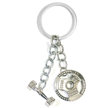 GYM Jewelry Personalized Dumbbell Weight Plate Keychain Sports Fitness Bodybuilding Stainless Steel Key Chains Custom For Men
