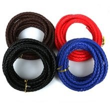3M 7mm Black/Brown/Red/Blue Flat Braided PU Leather Cord Rope String Beading Cords For Necklace Bracelet DIY Jewelry Findings