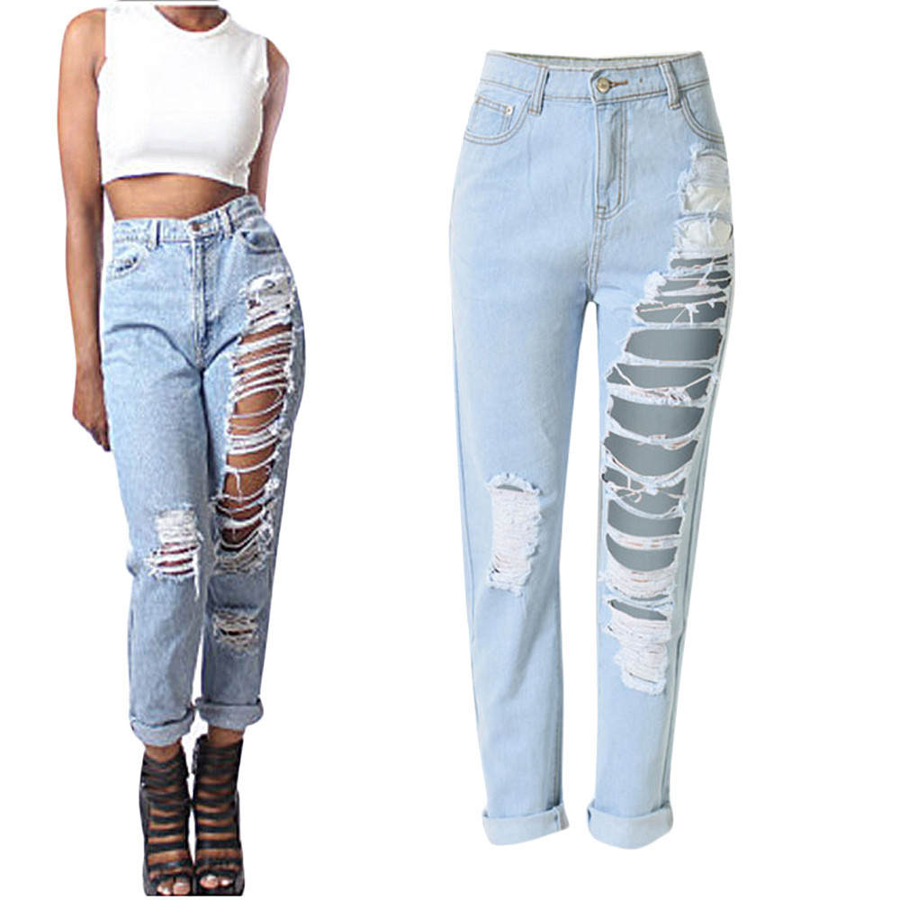 Spring Summer Fashion Pencil Jeans Womens Loose High Waist Washed Vintage Ripped Long Denim Pants Sexy Ladies Hole Trousers XXLОдежда и ак�е��уары<br><br><br>Aliexpress